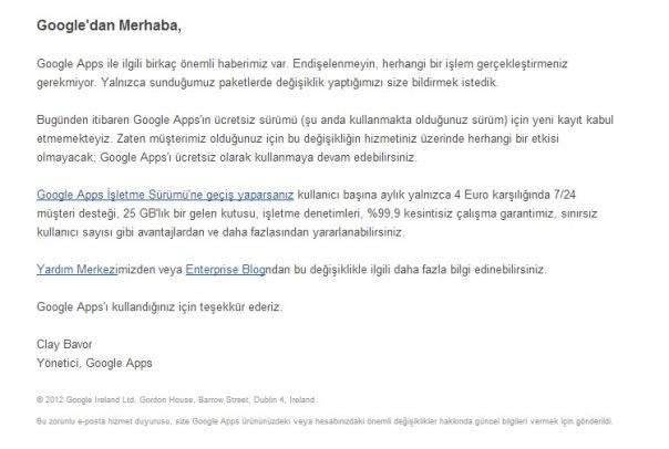 Google Apps Artık Ücretli