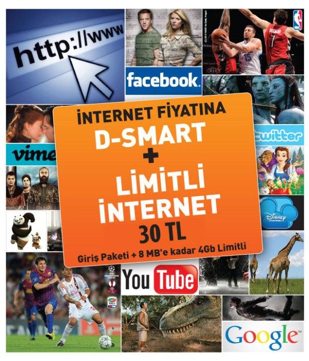 İnternet ve televizyon bir arada 30,00 TL'den başlayan fiyatlarla