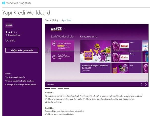 Worldcard, Windows 8'de Türkiye'deki ilk kredi kartı uygulaması olarak yerini aldı