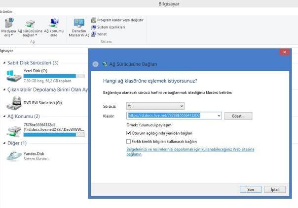 SkyDrive Hesabınızı Bilgisayarınıza Sürücü Olarak Ekleyin